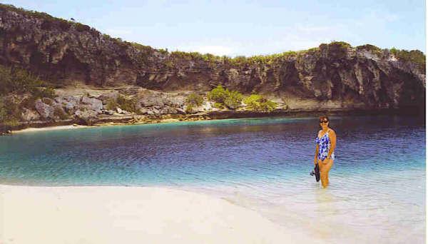 Lynn at Dean's Blue Hole, Long Island, Bahamas