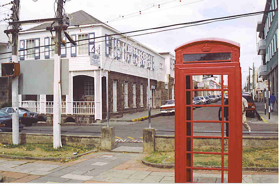 Phone booth in Basseterre town, St. Kitts, BWI.