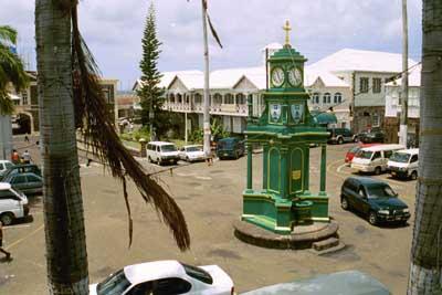 Berkeley Memorial Clock, the Circus, Basseterre town, St. Kitts, BWI.