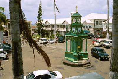 Berkeley Memorial Clock, the Circus, Basseterre town, St. Kitts, BWI.