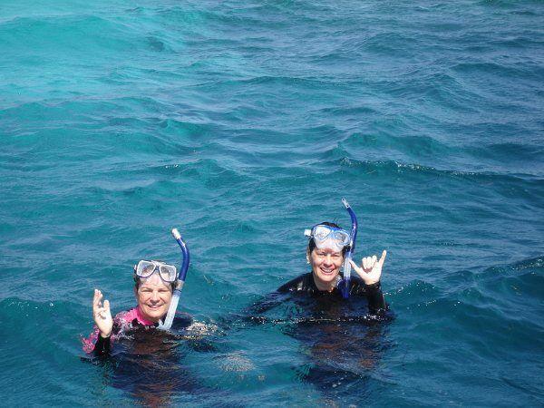 Snorkelers, Roatan, Bay Islands, Honduras.