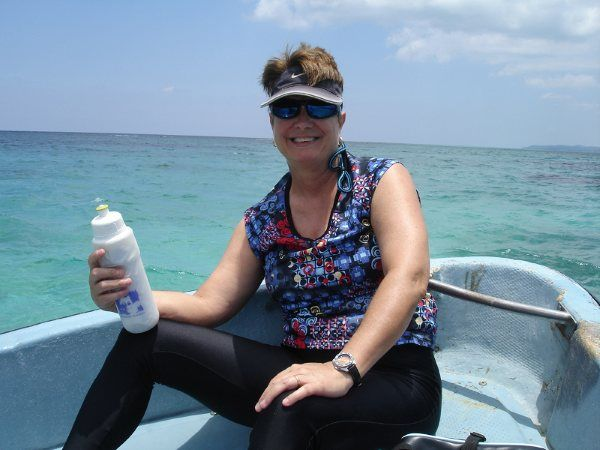 Lynn preps for snorkeling.