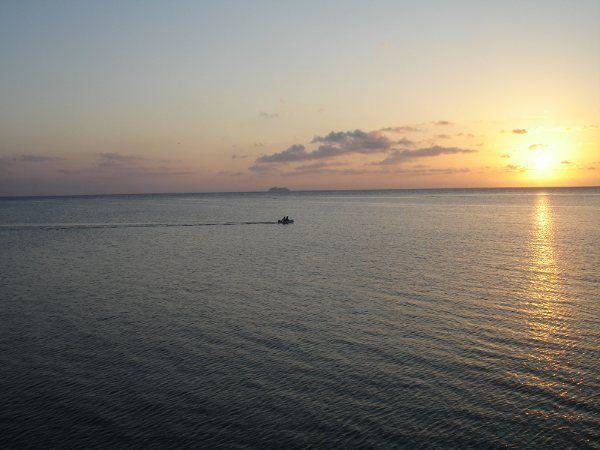 Cruise Ship on horizon, Roatan, Bay Islands, Bahamas.