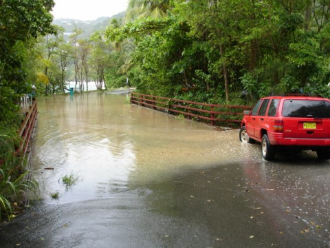Bridge flooded, Cane Garden Bay