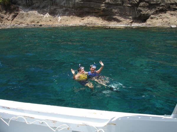Snorkelers wet