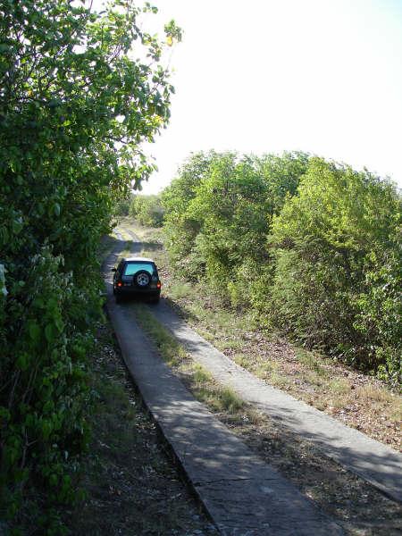 Steep drive to villa