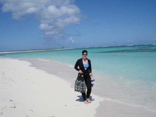 Robin prepares to snorkel from shore, Anegada beach.