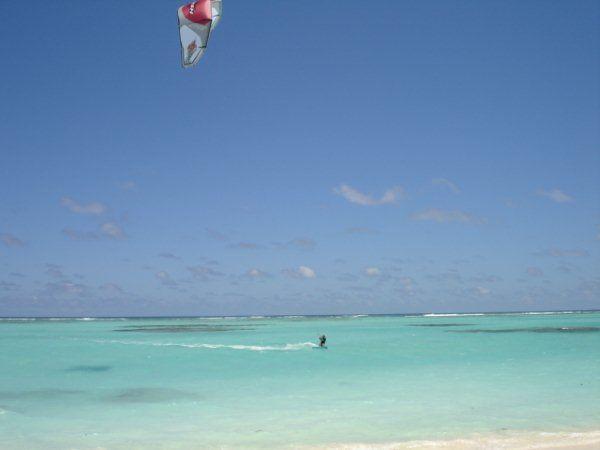 Kite boarding, Anegada, BVI.