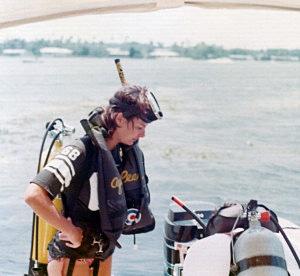 Dive prep, Crystal River, 1973
