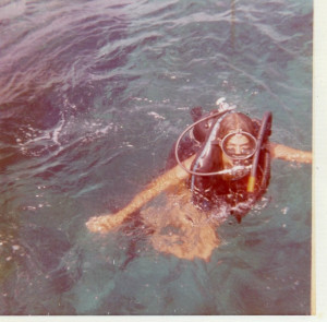 Lynn's first dive, Key Largo, FL 1972