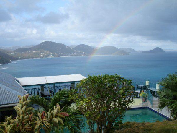 Heritage Inn, Tortola. View with rainbow.