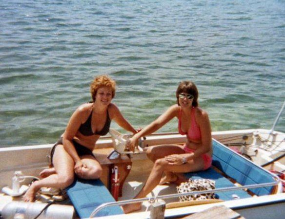 Lynn and Cathy in the Whaler, Crystal River, FL