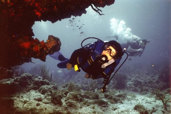 Lynn diving off St. John. USVI, 1994.