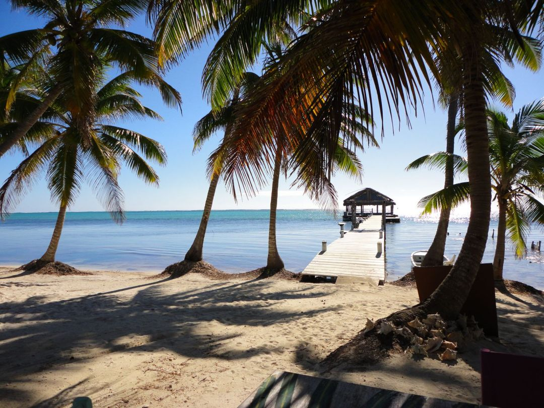 View to the reef from the beach, Ambergris Caye, Belize