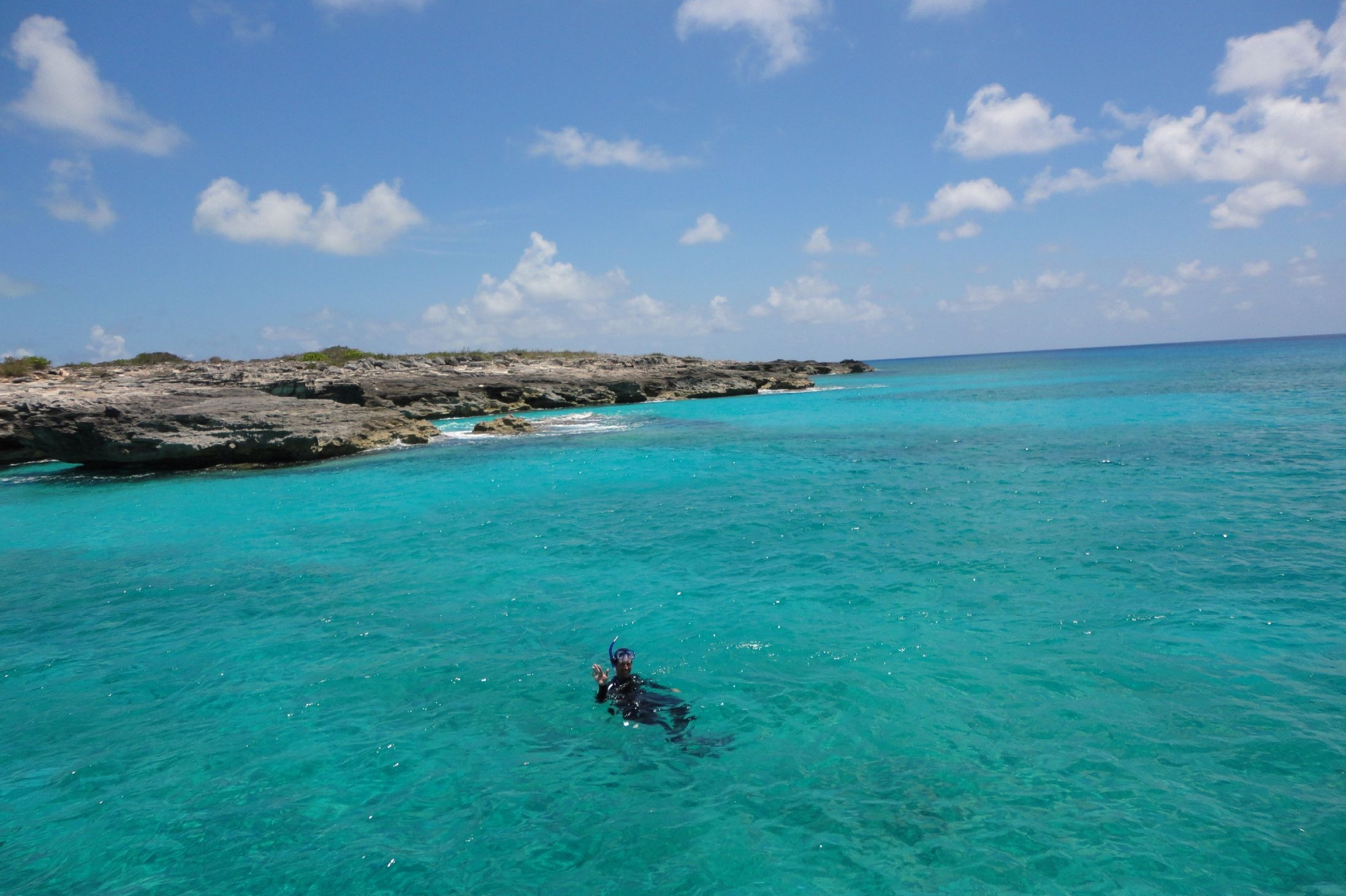 Robin snorkels off West Caicos