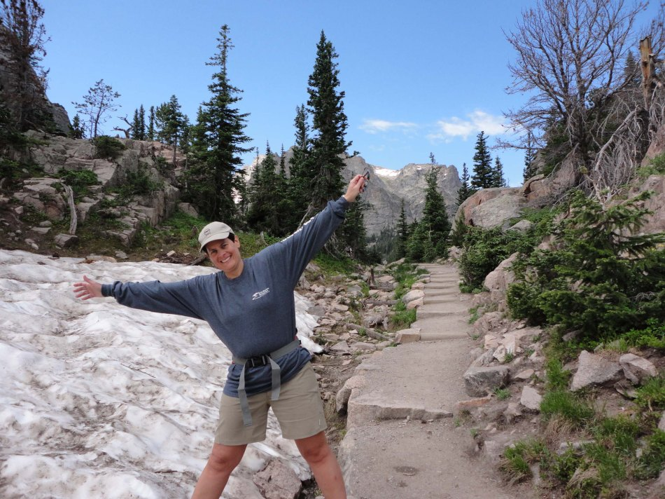 Robin, ice field, Glacier Gorge,Rocky Mountain National Park, CO.