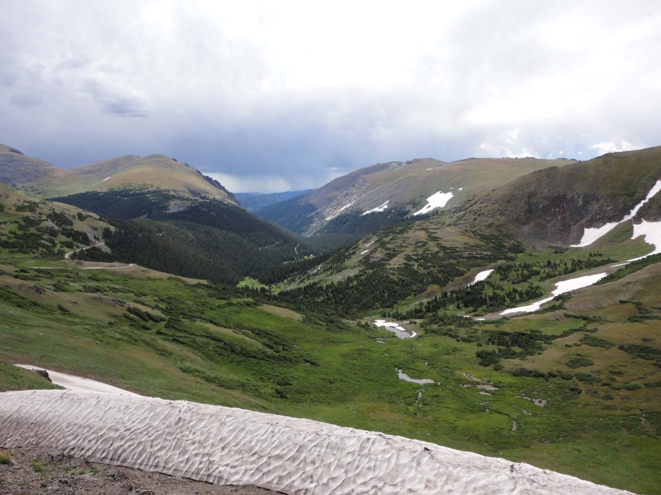 Stunning valley view, Lynn hikes the tundra at 10k feet, Rocky Mountain National Park, CO