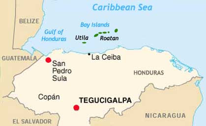 Honduras and Bay Islands map