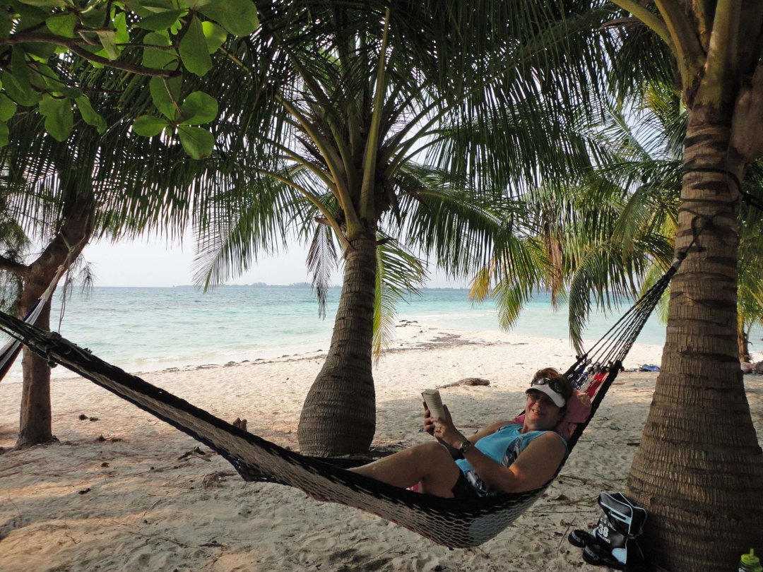 Lynn chills on a tropic isle, Water Cay, Bay Islands, Honduras