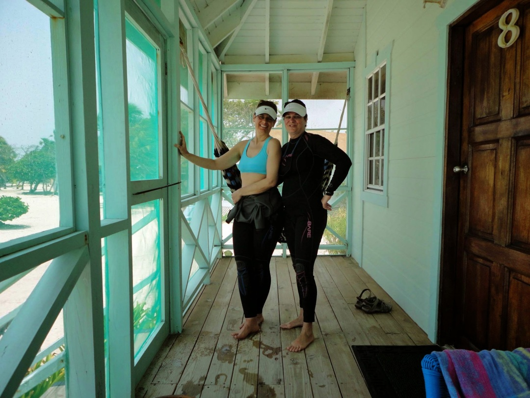 Post snorkeling, our cabana porch, Turneffe Atoll, Belize
