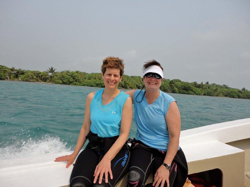 Lynn, Robin aboard snorkel boat, Turneffe Atoll, Belize