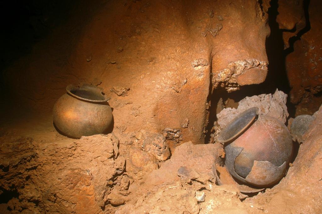 Votive Mayan pottery, ATM cave