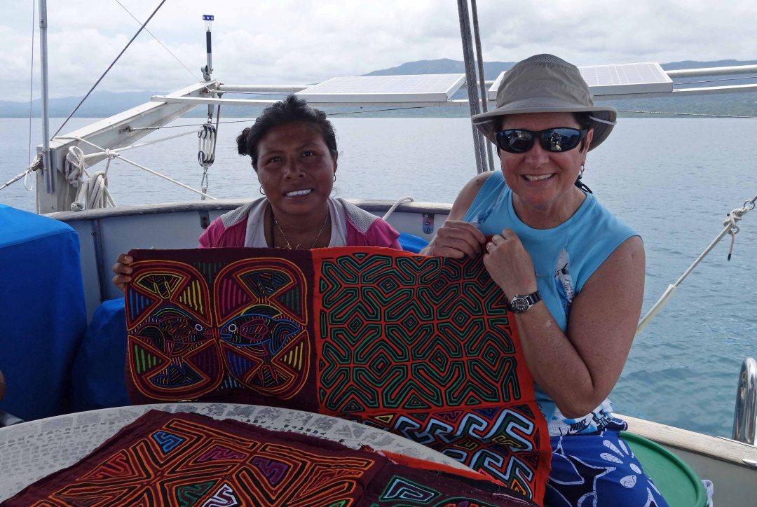 Guna woman displays her molas, Guna Yala islands, Panama, C.A.