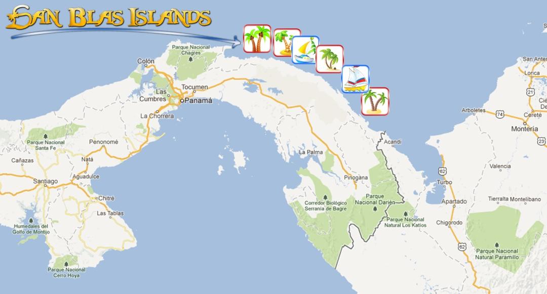 Guna Yala islands, Panama map