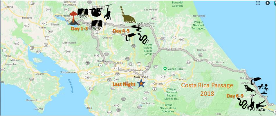 Costa Rica route map